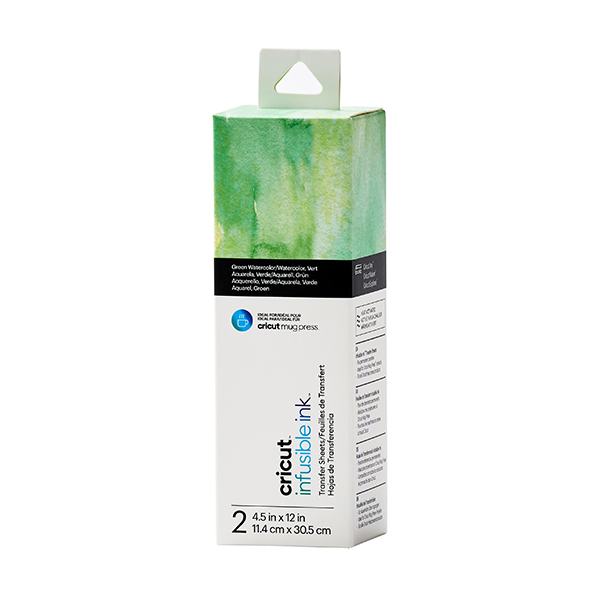 Cricut Joy Infusible Ink Transferbogen Watercolor - 2 Bogen [ 11,4 x 30,5 cm ] – grün