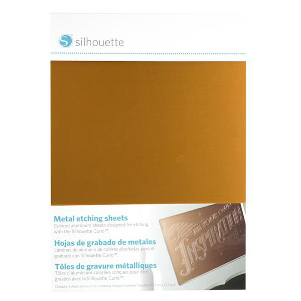 Silhouette Plaque de gravure en aluminium [12,7 x 17,7 cm|3 Pièces] – noir/or