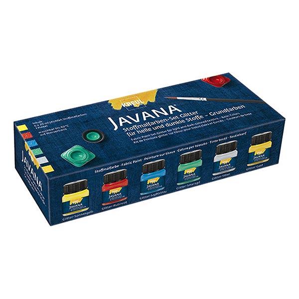Javana Peinture pour tissus clairs et sombres Paillettes Couleurs de base Set [6x20ml] | Kreul