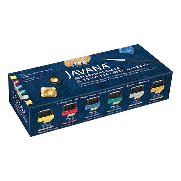 Javana Peinture pour tissus clairs et sombres Métallisé Couleurs de base Set [6x20ml]   Kreul