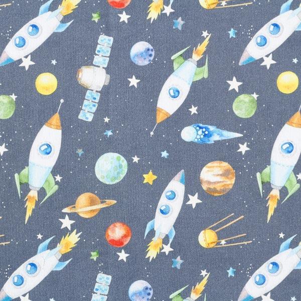 Tissu de décoration Semi-panama Fusées – gris foncé
