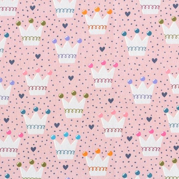 Tissu de décoration Semi-panama Couronnes – rose