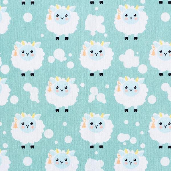 Tissu de décoration Semi-panama Moutons moelleux – vert menthe