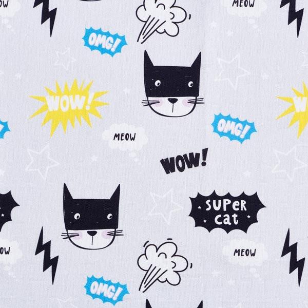 Tissu de décoration Semi-panama Chats super héros – gris clair