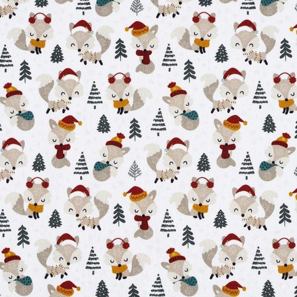 Dekostoff Halbpanama winterliche Füchse – weiss