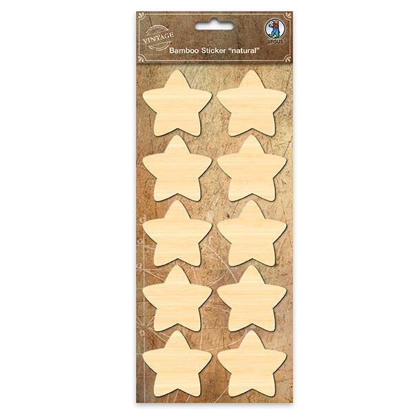 Bambus Sticker Sterne  – beige