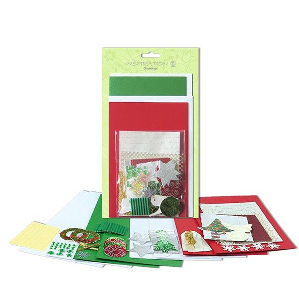 Karten-Bastelset Weihnachten  – grün/rot