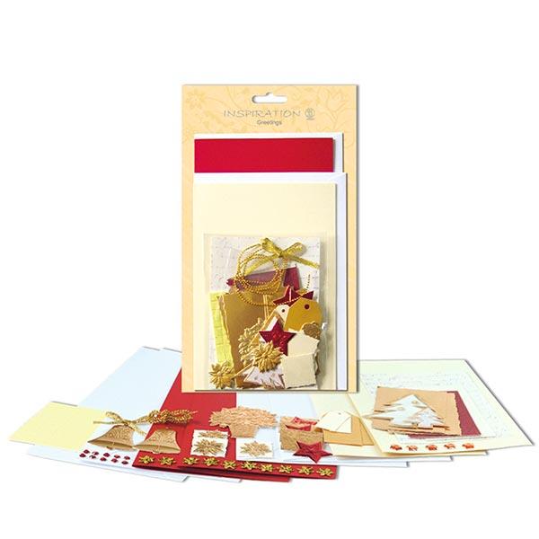 Karten-Bastelset Weihnachten  – rot/gold
