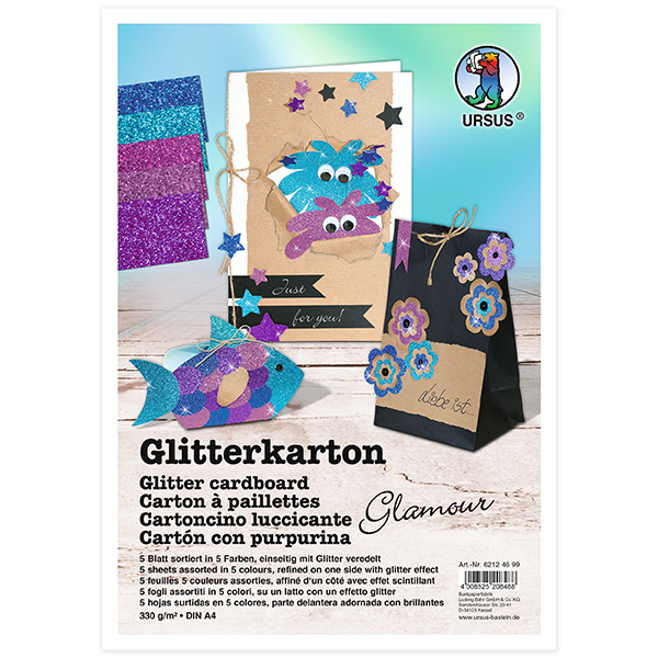 Glitzerkarton-Set A4 [300g/m²], 5 Blatt