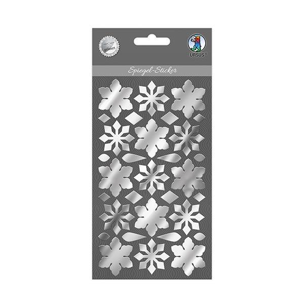 Spiegel-Sticker Eiskristalle  – silber
