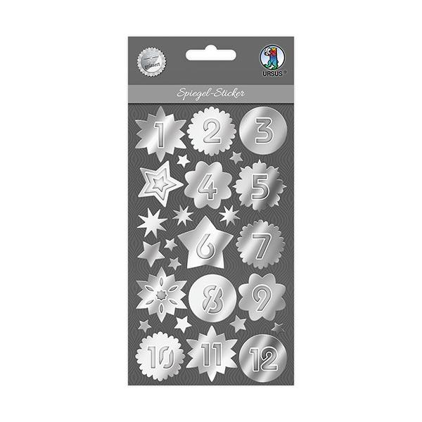 Spiegel -Sticker Adventszahlen [ 24 Stück ] – silber