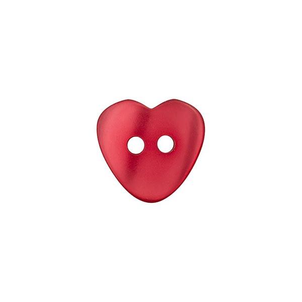 Bouton polyester 2 trous cœur [ 12 mm ] – rouge vif