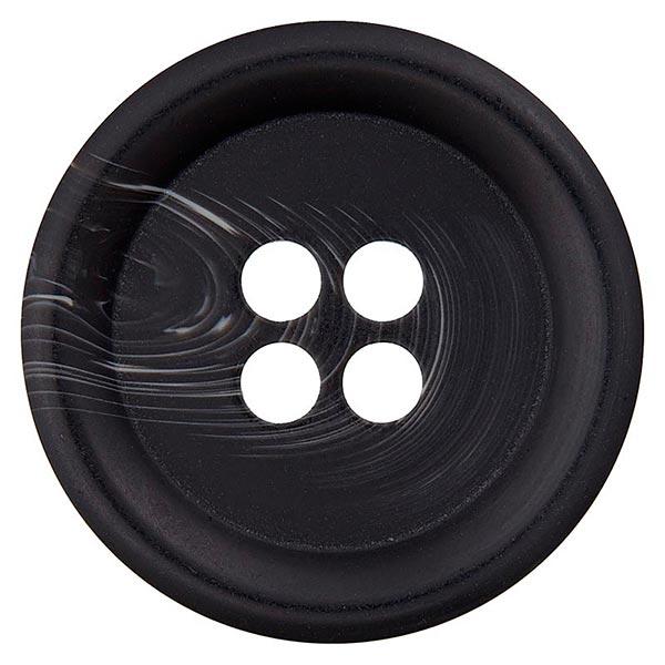 Bouton polyester 4 trous – noir/blanc