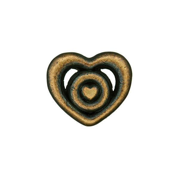 Bouton métal Cœur 2 – or ancien
