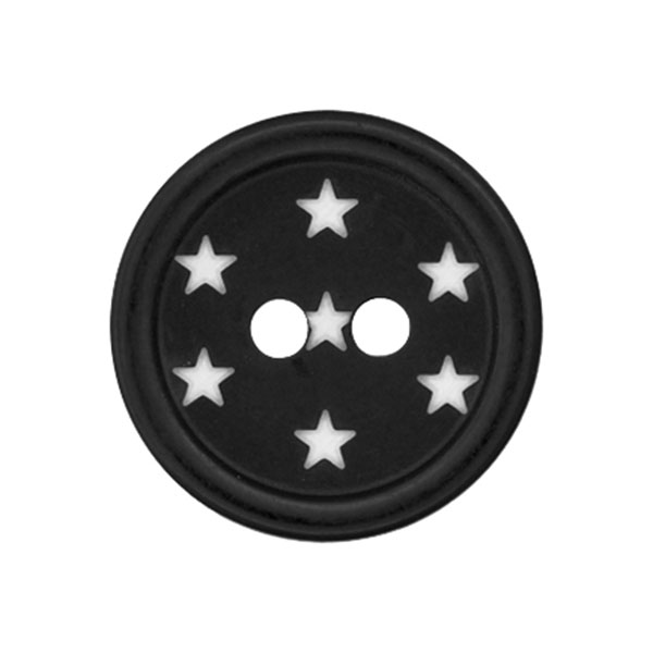 Bouton plastique Étoiles – noir