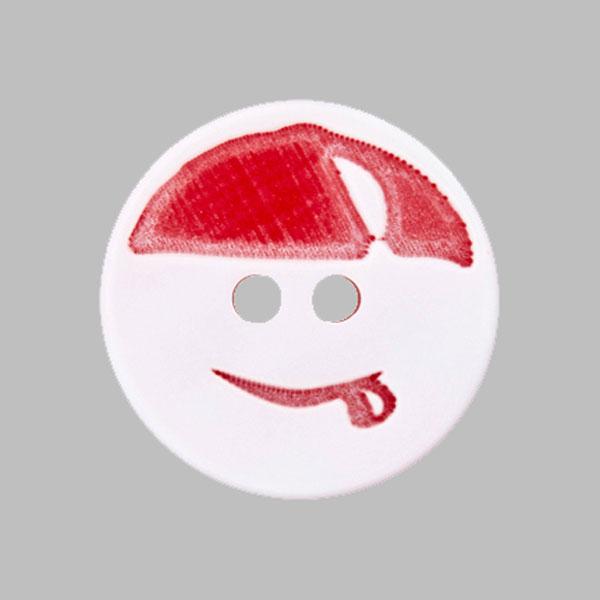 Bouton plastique Smiley – rouge/blanc