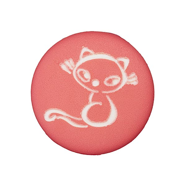 Bouton polyester Chat 6 – framboise