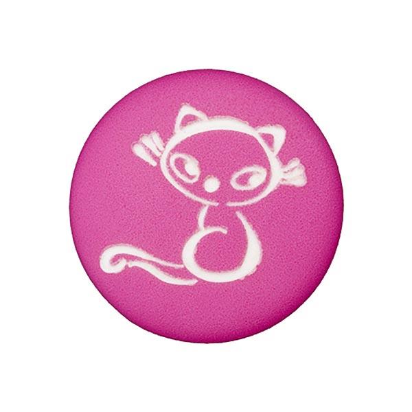 Bouton polyester Chat 7 – rose vif