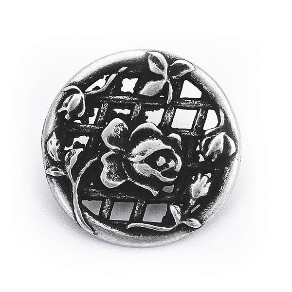 Bouton de costume folklorique Rose - argent vieilli