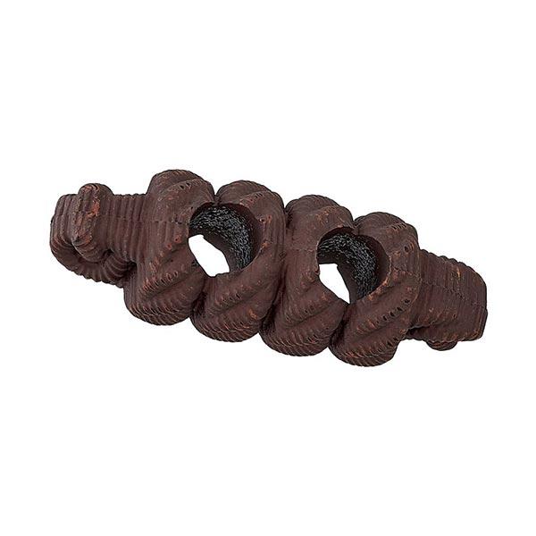 Bouton allongé Fausse corde - marron