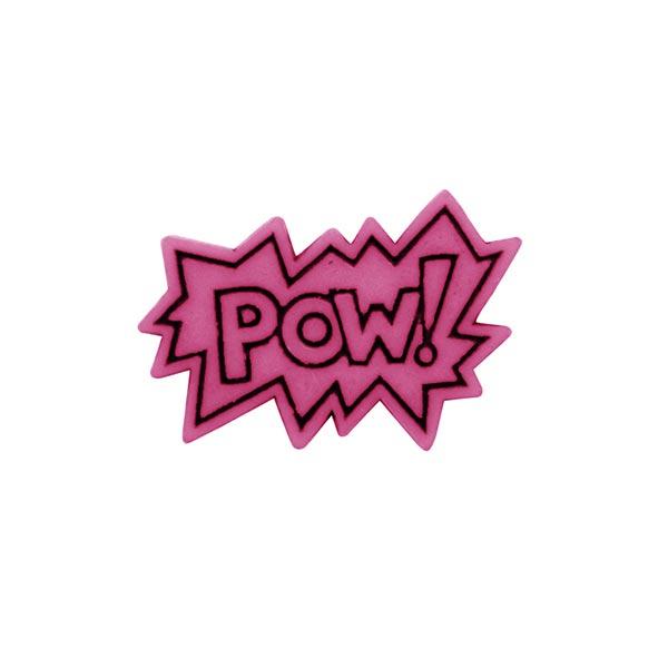 Bouton polyester POW! 6 – rose vif