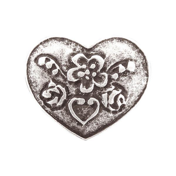 Bouton de costume folklore Cœur - argent vieilli
