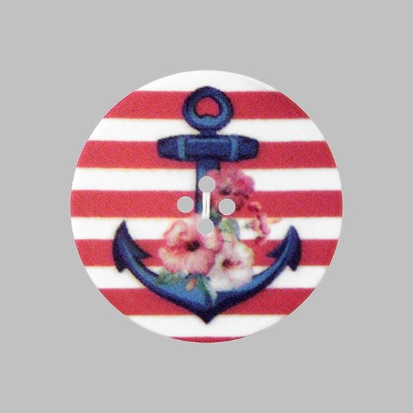 Bouton plastique Ancre Love - rouge