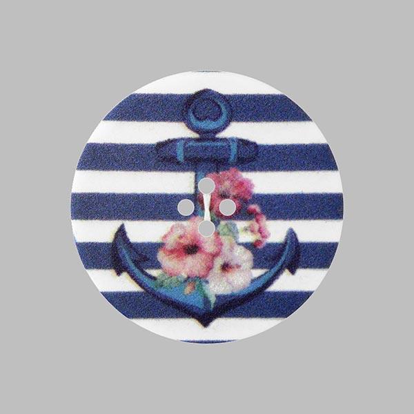 Bouton plastique Ancre Love - bleu marine