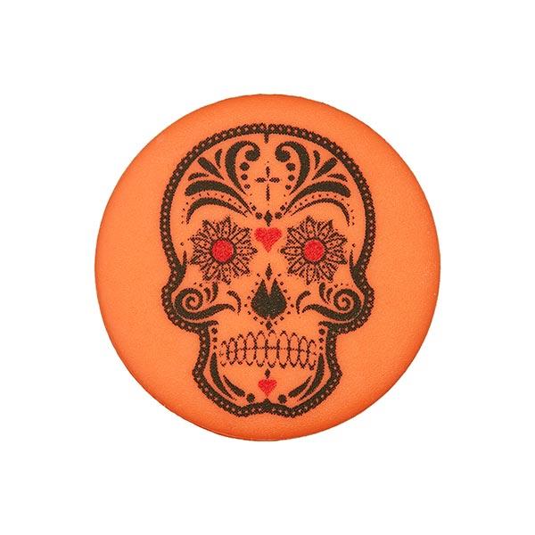 Bouton polyester à queue Tête de mort Marion - orange fluo