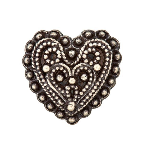 Bouton folklorique moyenâgeux Cœur - argent vieilli