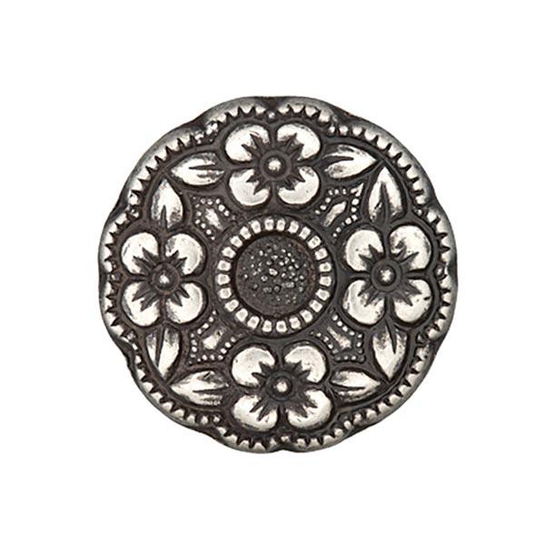 Bouton folklorique Couronne de fleurs - argent vieilli