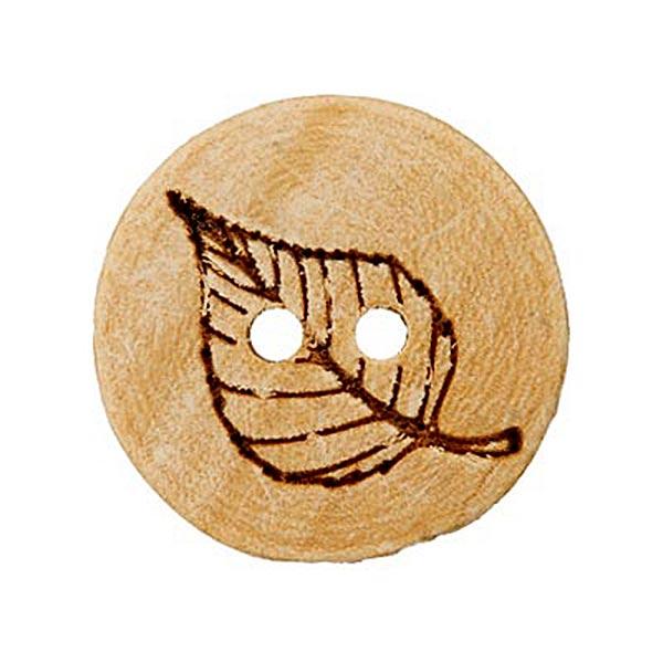 Holzknopf Blatt - beige