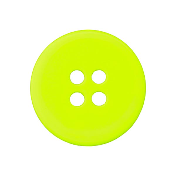 Bouton polyester 4 trous FLUO - jaune fluo