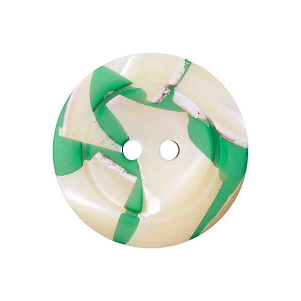 Bouton polyester/nacre 2 trous – vert herbe
