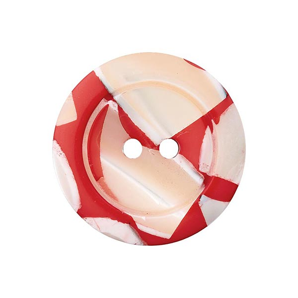 Bouton polyester/nacre 2 trous – rouge clair