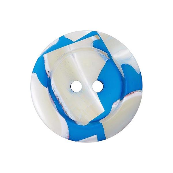 Bouton polyester/nacre 2 trous – bleu