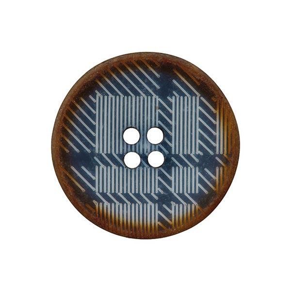 Bouton polyester 4 trous Carreaux – bleu jean