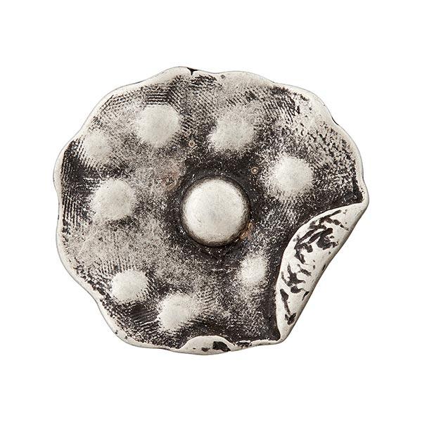 Bouton métal abstrait – argent ancien