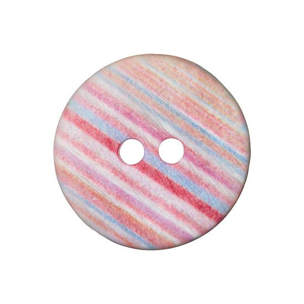 Bouton polyester 2 trous Rayures  [ 28mm] – framboise