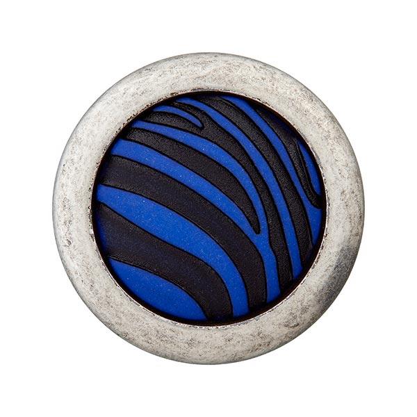 Bouton polyester Œillet Zèbre – bleu roi