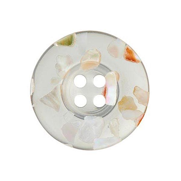 4-Loch Perlmutt/Polyesterknopf Recycling [18 mm] – transparent