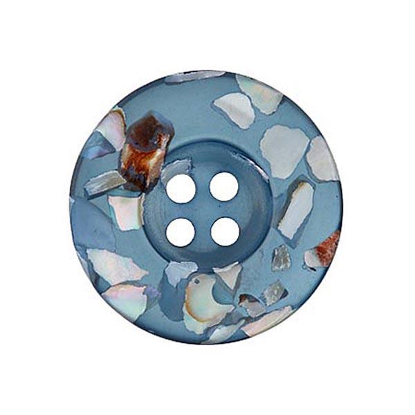 4 trous Bouton polyester/nacre Recycling – bleu