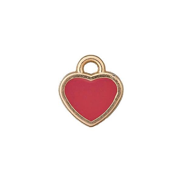Metallzierteil Anhänger Herz – rot/gold