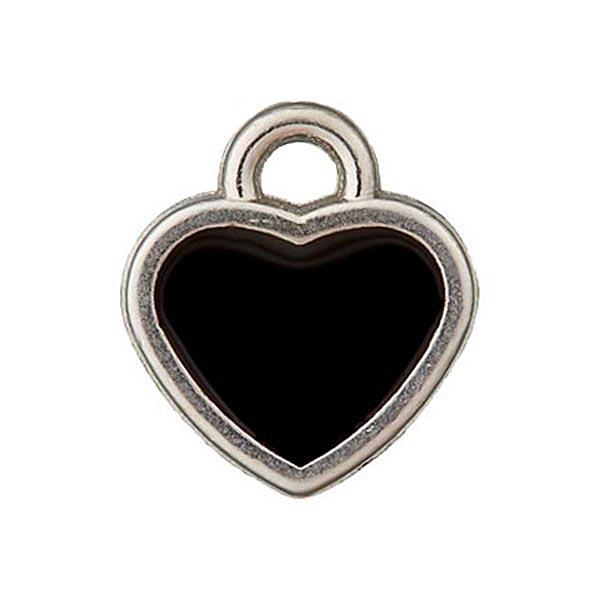 Metallzierteil Anhänger Herz – schwarz/silber