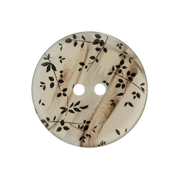 Bouton polyester 2 trous Feuilles – écru
