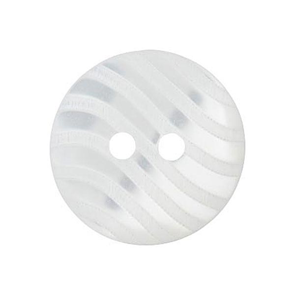 Polyesterknopf 2-Loch Wellen [15mm] – weiss