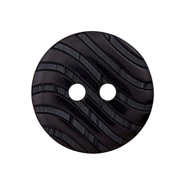 Bouton polyester 2 trous Ondes [15mm] – noir