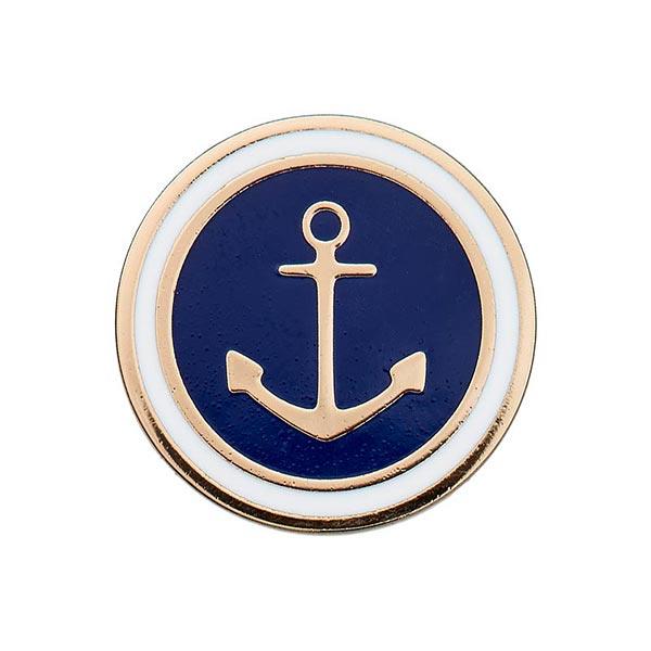 Bouton en métal Œillet Ancre – bleu marine/or