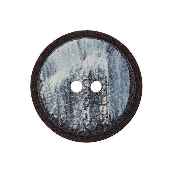 Bouton polyester 2 trous – noir/blanc