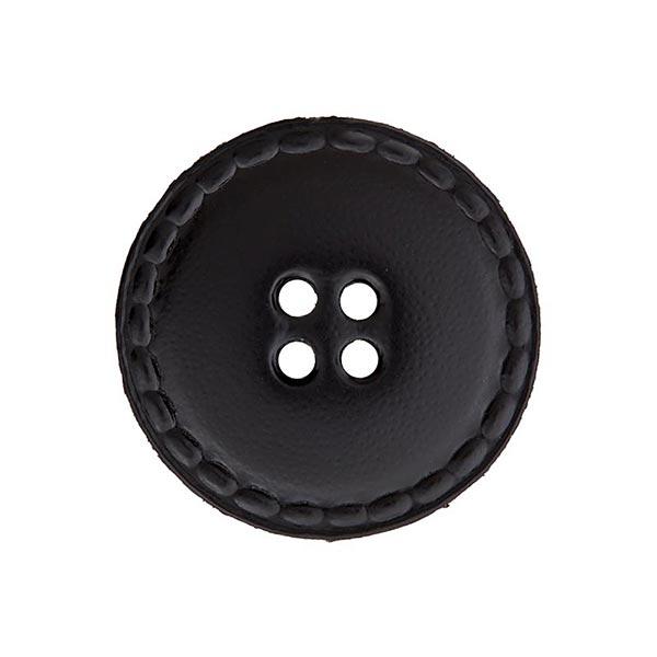 Bouton en cuir 4 trous – noir